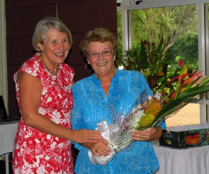 Interim Vice-Chancellor Professor Sharon Bell bids Morag McGrath a fond farewell