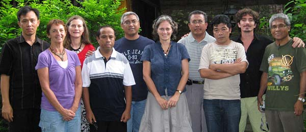 The late Associate Professor Bronwyn Myers (centre), Sam Pickering (second from left) and Dr Penny Wurm (third from left) with colleagues from Indonesian university partners Satya Wacana Christian University and Nusa Cendana University