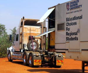 CDU's new prime mover retrieves a mobile classroom from Arlparra
