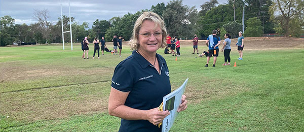 CDU fitness instructor Nikki Higgins is guiding her students to run training sessions for staff and those who want to get into shape