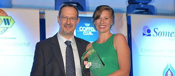 Research Institute for the Environment and Livelihoods PhD candidate Alyson Stobo-Wilson won the ConocoPhillips Environment Award. Pictured with Darwin operation manager at ConocoPhillips, Filippo Meacci