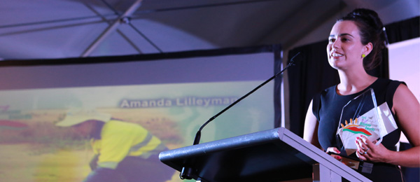 CDU PhD candidate Amanda Lilleyman, winner of the ConocoPhillips Environment Award at the 2016 NT Young Achiever Awards