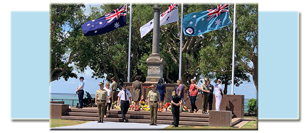 CDU Provost Professor Sue Carthew, Janie Mason and Libbie Webb pay their respects at Darwin Cenotaph during the Bombing of Darwin memorial service. Photo courtesy NT Government