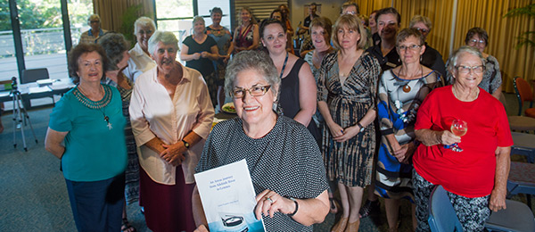 """CDU Nursing Museum Curator Janie Mason (centre) at the launch of her paper entitled """"An Anzac journey from Adelaide River to Lemnos"""""""