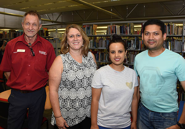 (From left) Nursing lecturers Dr Colin Watson and Robin Cross meet students Shova Gautam, Mahbub Rashid