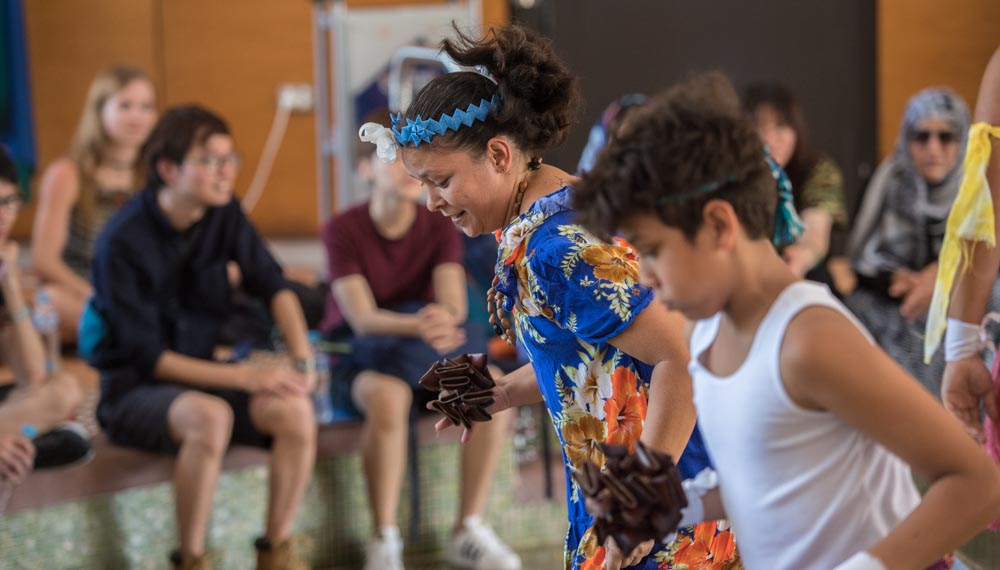 Torres Strait Islander dance group, Upai Purri performs during the Indigenous Knowledges and Learning Showcase