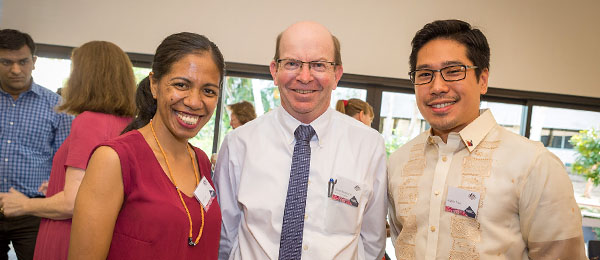 Julia Gaio (left), and Angelo Trias (right) at the farewell event with Professor Simon Maddocks