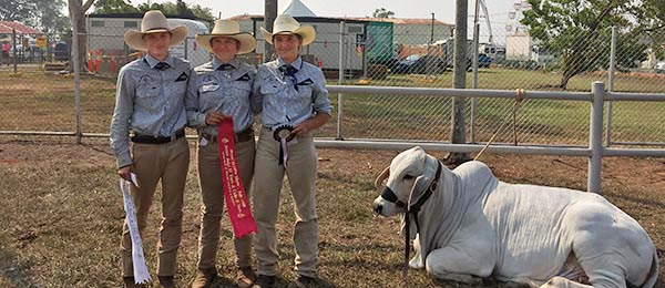 From left: Brianna Simmonds, Rikki Challis and Helena Sangster with their junior judging awards at Darwin Show