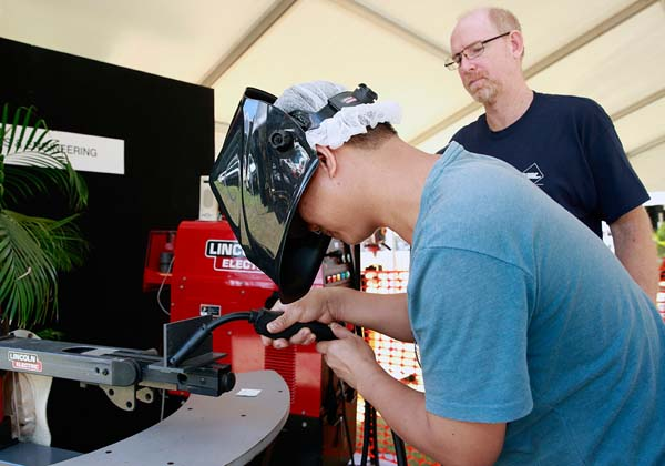 The welding simulator was a hit with many