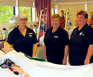 School of Health Lecturer Ann Bolton with Diploma of Nursing students Shirley Nowland and Kim Presnell