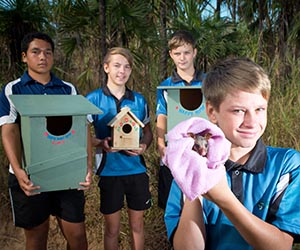 Year Nine students donate possum houses to local environment groups. From left: Rosebery Middle School Year Nine students, Darrien Niehsner, Riley Tucker, Bailey Little, Quinn Laughton