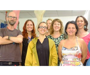From left: Dr Cornelius Delaney and CDU postgraduate visual art students Aly de Groot, Dr Bianca Hester (visiting lecturer), Anna Reynolds, Hayley West, Natasha Rowell and Sarah Moller