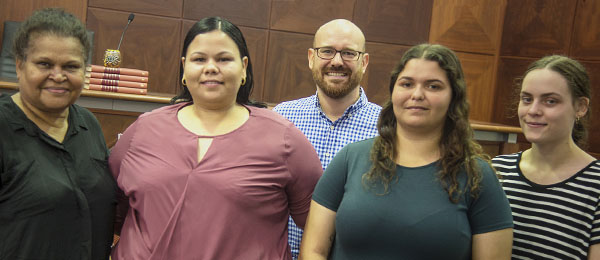 The law beckons: (from left) May Mooka, Erica Harvey, Ben Grimes, Kacie Winsley and Tamara Espie