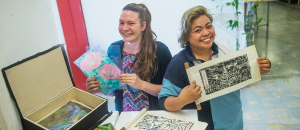 """Visual arts students Kirstie Scullen (left) and Christine Barzaga will exhibit at the """"Fledgling"""" exhibition on Friday"""