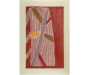 Jean Baptiste Apuatimi, Tarpauline 2010, Japanese-style woodblock printed with natural ochres Collaborators: Jacqueline Gribbin and Karlissa Kennedy