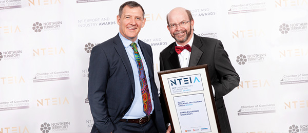 Chief Minister Michael Gunner (left) and Vice-Chancellor Professor Simon Maddocks at the NT Export Awards