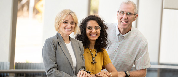 From left: New psychology appointments Dr Shahd Al-Janabiand, Dr Krissy Wilson with Dean of the College, Professor Dominic Upton
