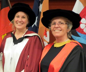 Dr Jane Walker and PhD co-supervisor Dr Jocelyn Davies at the 2012 graduation ceremony in Alice Springs