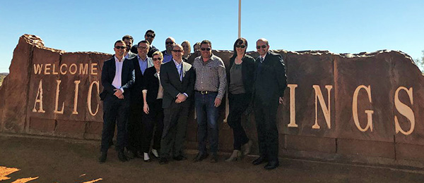 "Vice-Chancellor Professor Simon Maddocks (right) with ""Qantas bid"" delegates in the Red Centre"