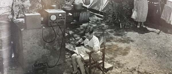 Barry Coles on air at a government contractors' camp, Northern Territory 1960s [Royal Flying Doctor Service donation to CDU Nursing Museum]