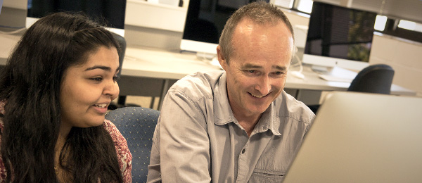 Reema Bali and New Media Lecturer Greg Docwra get animated about new media