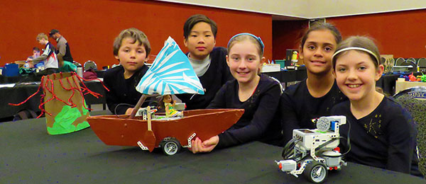 From left: Reuben, Yuen, Elisabeth, Taria and Kerryn at the RoboCup event in Alice Springs