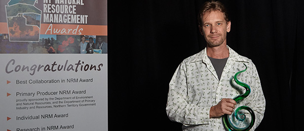 RIEL's Rohan Fisher won Researcher of the Year at the Territory Natural Resource Management awards. Photo: Shane Eecen