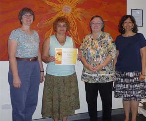 From left: Menzies School of Health Research Professor Joan Cunningham and Gail Garvey, with CDU Library Director Ruth Quinn, and Library Research Services Coordinator Jayshree Mamtora