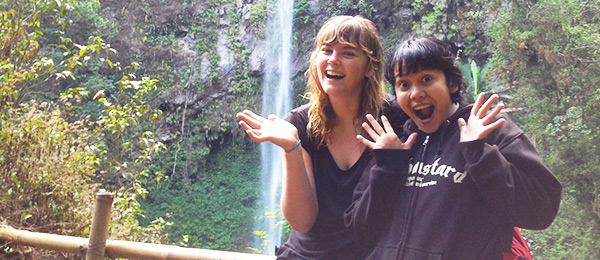 Sally Swinnen with her friend Deno in Malang, Indonesia