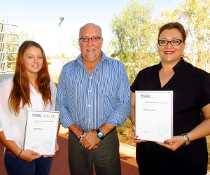 Pro Vice-Chancellor VET John Hassed with scholarship recipients Carla Molloy (left) and Estelle Venter