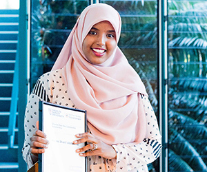 CDU Bachelor of Design student Naimo Abdiwahid is one of 78 students to receive a scholarship