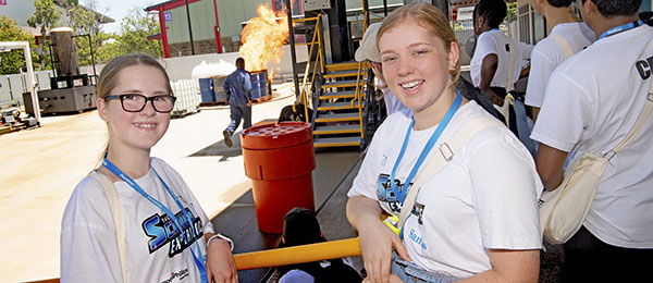 Good Shepherd Lutheran College Year 9 students Madison Berry and Charlotte Radford at the ERGT demonstration