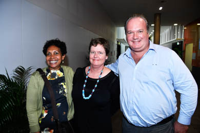 From left: Phyllis Williams, Angela Hill and Hugo Leschen attend the exhibition opening