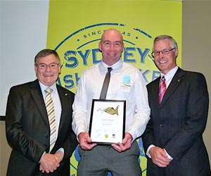 Sydney Fish market General Manager Bryan Skepper, CDU aquaculture lecturer Chadd Mumme and Fisheries Research and Development Corporation Executive Director Dr Patrick Hone