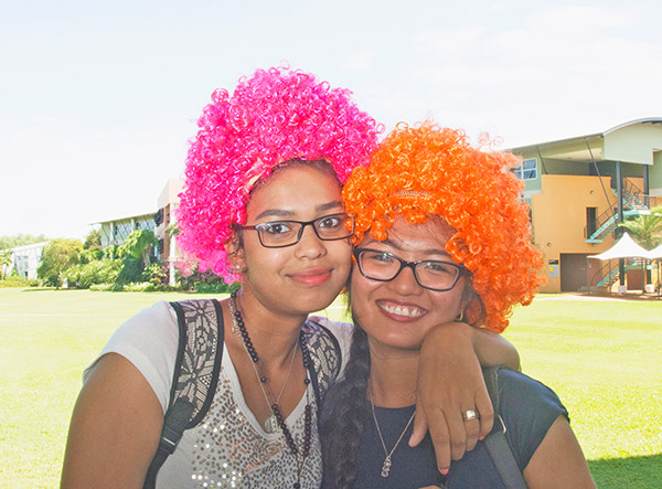 Angel Punnoose and Mikhaila Barrozo put wigs on for the blood cancer charity
