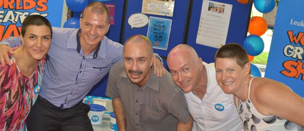 "From left: ""Team CDU"" Bahareh Jamali, Jurgen Baier, Martin Klein, Mark Barlow and Kate Birch give it all in the ""World Greatest Shave"" event"