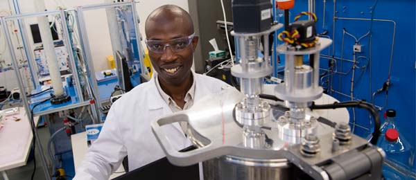 Dr David Ompong working towards improving the design of solar panels