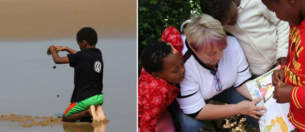 Postgraduate student Judith Taylor (right) researches caregiver attachment at a children's home in South Africa