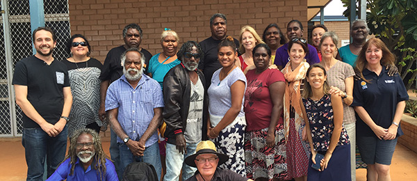 Associate Professor James Smith (left) and other members of the Whole of Community Engagement initiative at CDU's Tennant Creek centre