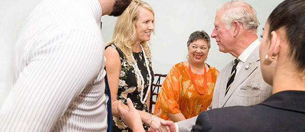 From left: Associate Professor Natasha Stacey and Bilawara Lee meet His Royal Highness the Prince of Wales