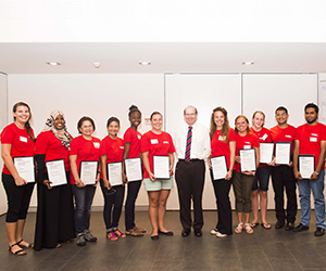 Vice-Chancellor Professor Simon Maddocks presents some of the Student Ambassadors with certificates at the event