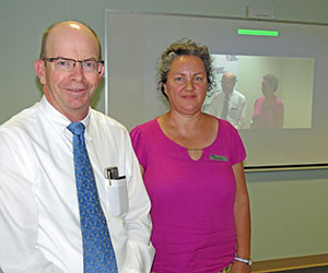 Vice-Chancellor Professor Simon Maddocks and Office of Learning and Teaching Learnline Developer and Trainer Wendy Taleo at the Collaborate opening in Alice Springs