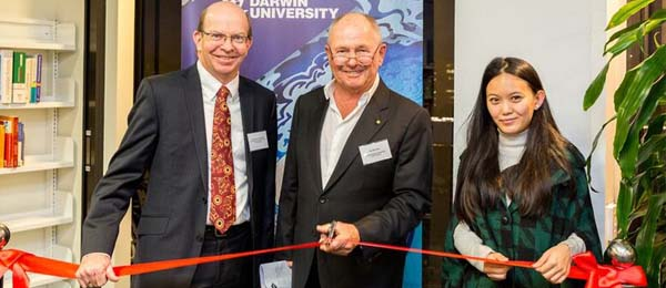 Vice-Chancellor Professor Simon Maddocks, CDU's Chancellor, Mr Neil Balnaves AO and Sakuna Lama