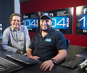 Breakfast show host Johnny McKay departs after five years on air at Territory FM. Pictured with Station Manager Jih Seymour
