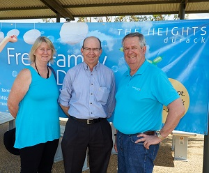 From left: Vicky Maddocks, CDU Vice-Chancellor Professor Simon Maddocks and The Heights, Durack, Project Director Geoff Smith at the family fun day