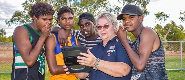 From left: Bradlee Ward, Joshaviah Johnson, Stanley Waistcoat, Lesley Versteegh and Tony Bradshaw try out the Time Machine app. Image: Tennant and District Times