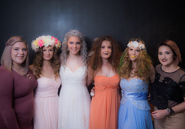 Hair and Beauty students Zoe Spinella (left) and Kelly Young (right) with models, from left: Kaeleigh Dempsey, Brooke Young, Zoe Scott and Chelsea Russell