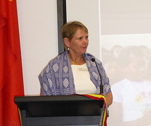 CDU International Projects and Operations Manager Sally-Anne Hodgetts addresses attendees at the 12th Anniversary of the Restoration of Independence of Timor-Leste