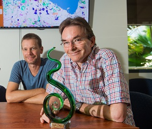From left: Award winners from the Darwin Centre for Bushfire Research, Rohan Fisher and Dr Peter Jacklyn