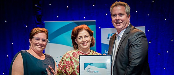From left: Executive Director VET Education Innovation Kim Hawkins, Pro Vice-Chancellor VET Christine Robertson and Hastings Deering Regional Manager Brad Scholz at the NT Training Awards
